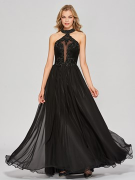Ericdress A Line Halter Beaded Applique Long Prom Dress