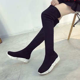 Ericdress Plain Slip-On Platform Knee High Boots