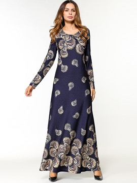 Ericdress Pullover Print Long Sleeve Maxi Dress