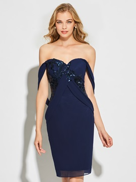 Ericdress Sheath Sweetheart Applique Knee Length Cocktail Dress