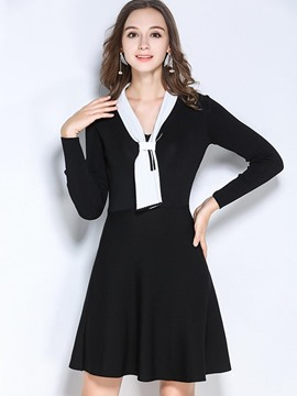 Ericdress V-Neck Lace-Up Plain Color Block A Line Sweater Dress