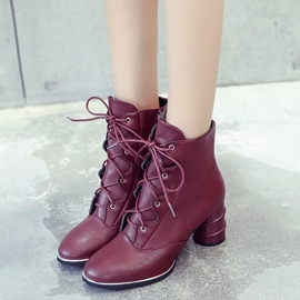 Ericdress PU Cross Strap Plain High Heel Boots