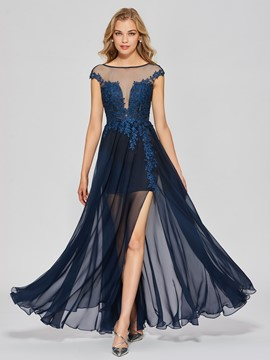 Ericdress A Line Cap Sleeve Applique Floor Length Long Prom Dress