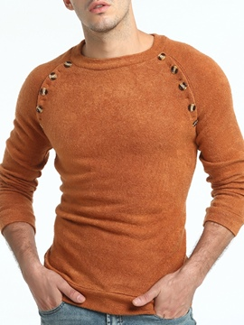 Ericdress Plain Scoop Neck Vogue Men's Pullover Sweater