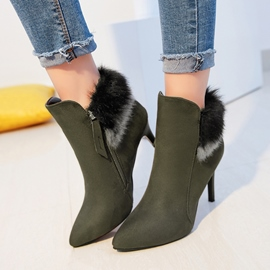 Ericdress Pointed Toe Patchwork Plain High Heel Boots