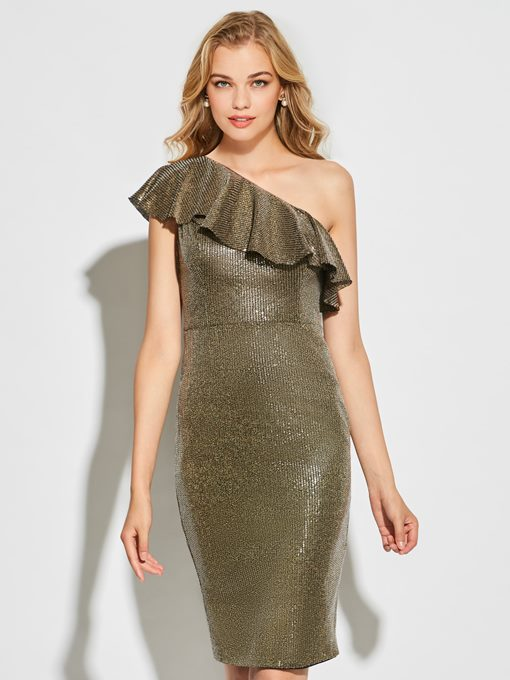 Ericdress Sheath One Shoulder Cocktail Sequin Reflective Dress