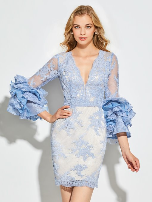 Ericdress Sheath Long Sleeve V Neck Lace Short Cocktail Dress