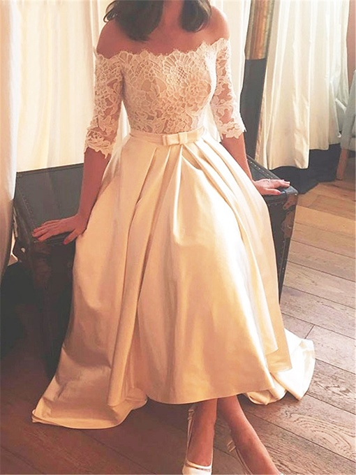 Ericdress Off The Shoulder Half Sleeves Beach Wedding Dress
