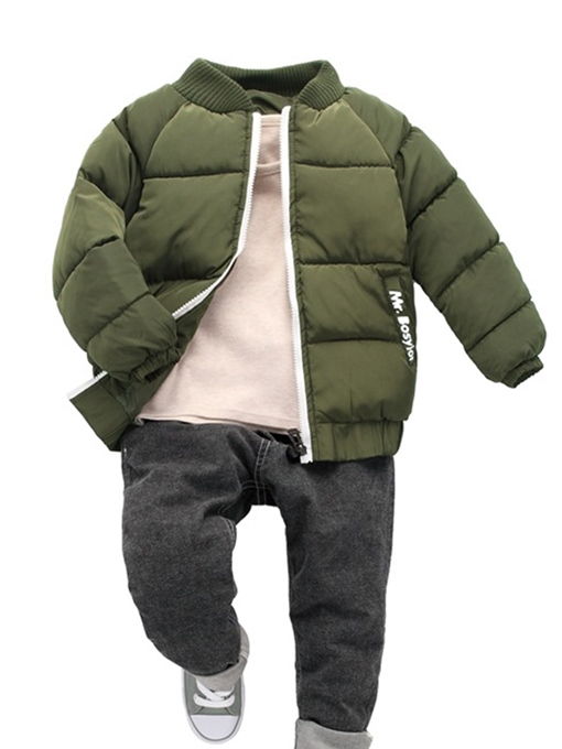 Ericdress Thick Warm Stand Collar Zipper Boys Cotton Coat