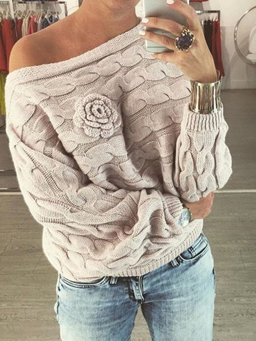 Ericdress Thin Batwing Sleeve Patchwork Loose Long Sleeve Sweater