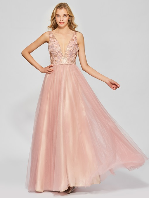 Ericdress A Line V Neck Beaded Lace Backless Long Prom Dress