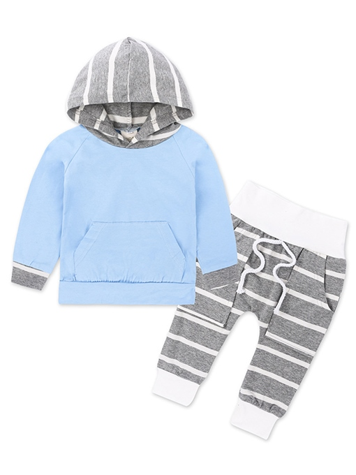 Ericdress Striped Patchwork Long Sleeve Hoodie And Pant 2-Pcs Set
