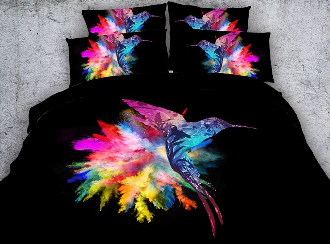 3D Colorful Hummingbird Printed Cotton 4-Piece Black Bedding Sets/Duvet Covers