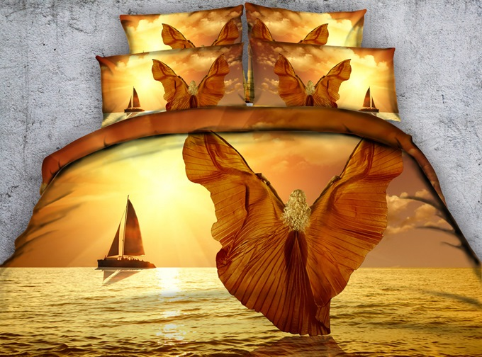 3D Girl with Wings Printed Cotton 4-Piece Bedding Sets/Duvet Covers