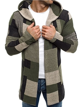 Ericdress Color Block Hooded Cotton Slim Men's Trench Coat
