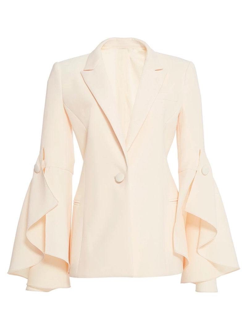Ericdress_Ruffles_One_Button_Plain_Blazer