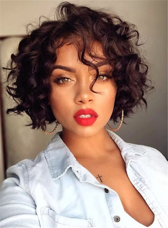 Ericdress Womens Short Bob Hairstyle Curly Synthetic Hair Capless Curly Wigs 8 Inches