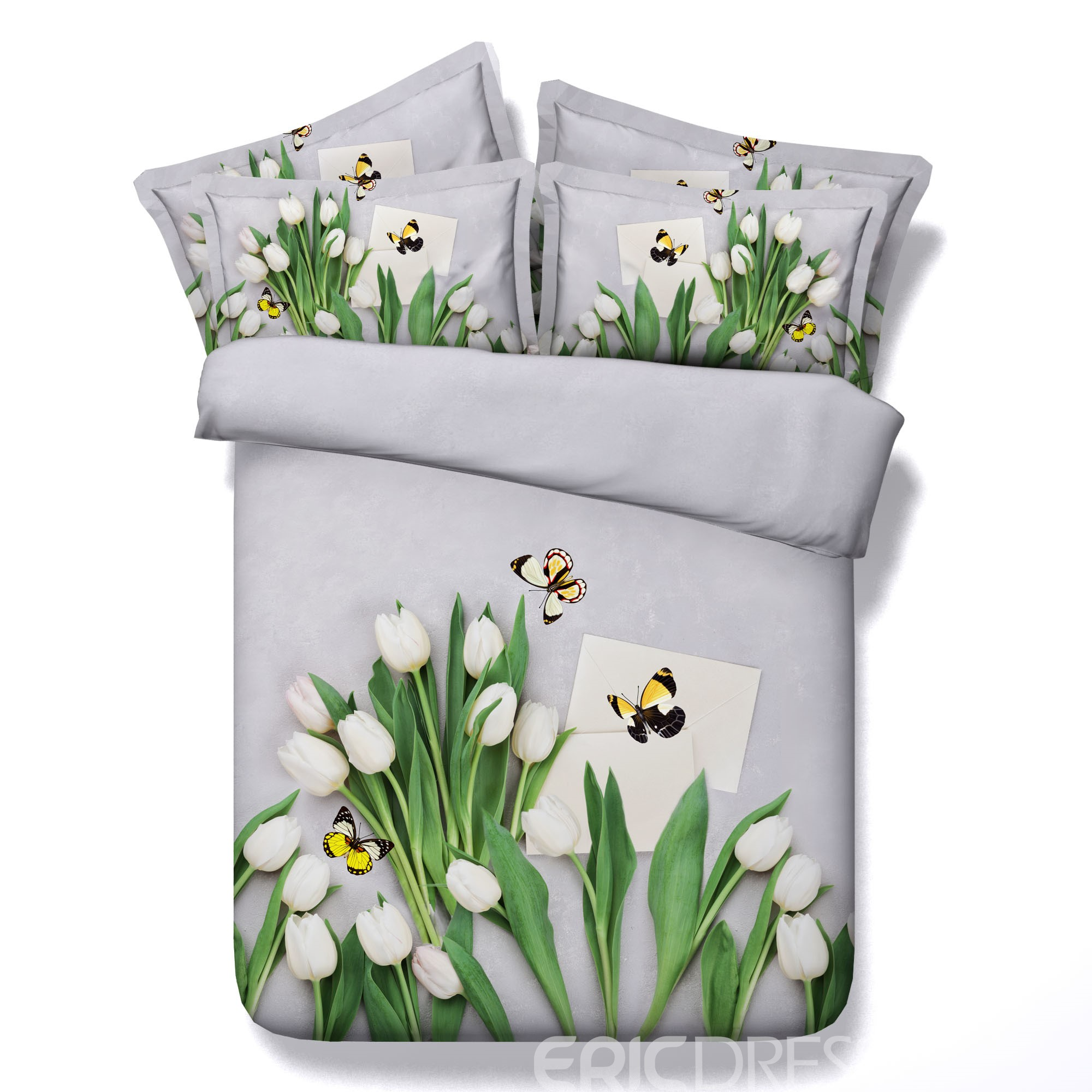 Vivilinen 3D White Tulips and Butterfly Printed Cotton 4-Piece Bedding Sets/Duvet Covers