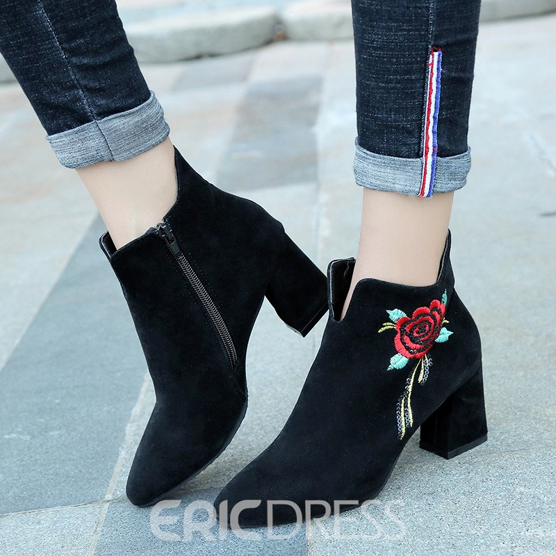 Ericdress Fashion Embroidery Floral High Heel Boots