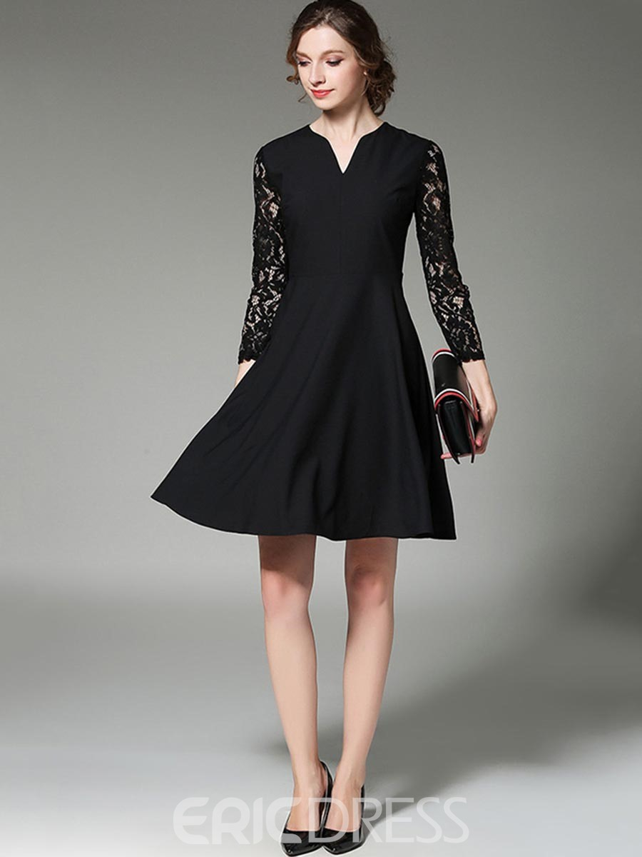 Ericdress V-Neck Hollow Lace Little Black Dress