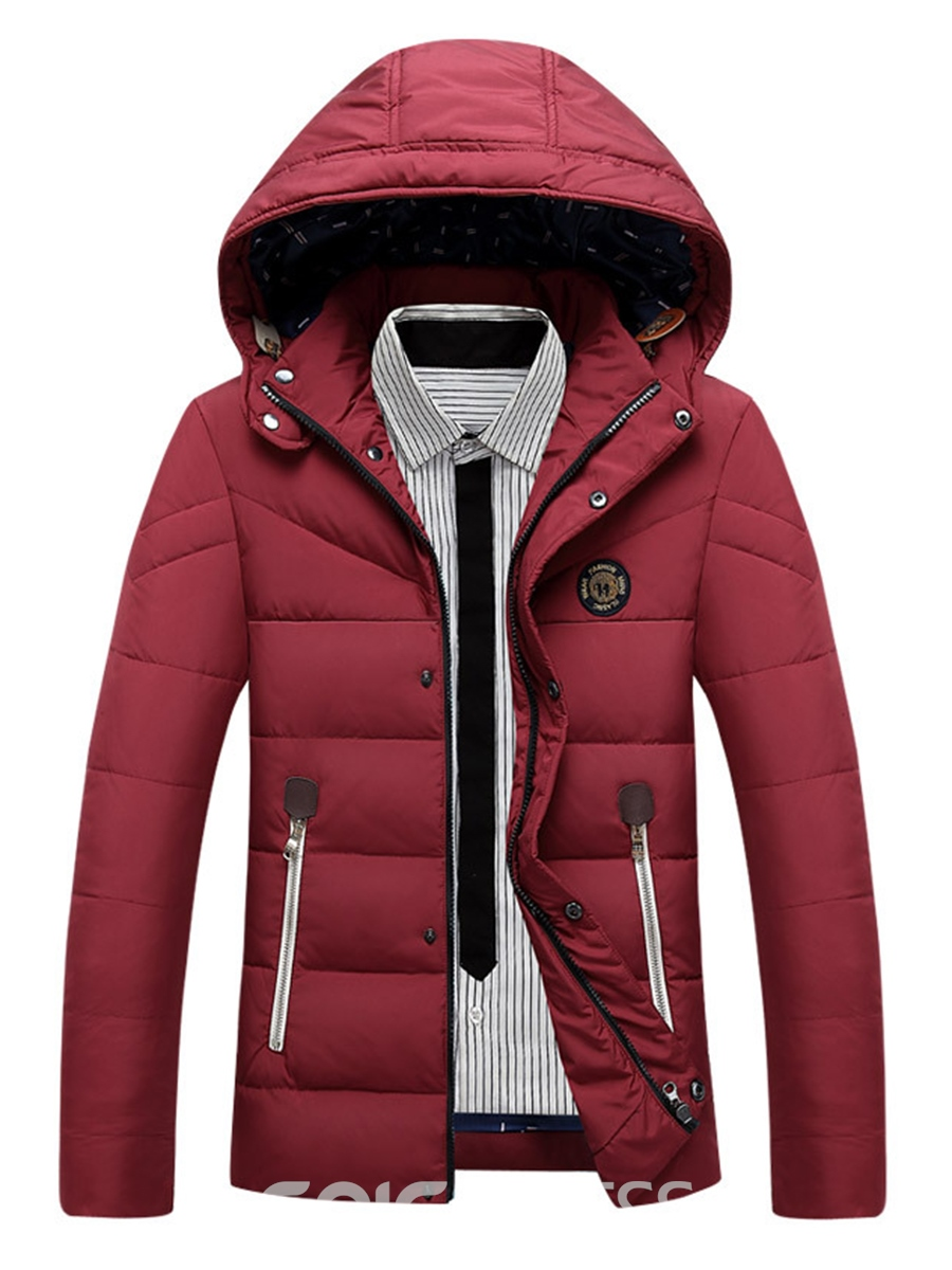Ericdress Hood Winter Slim Casual Men's Winter Coat