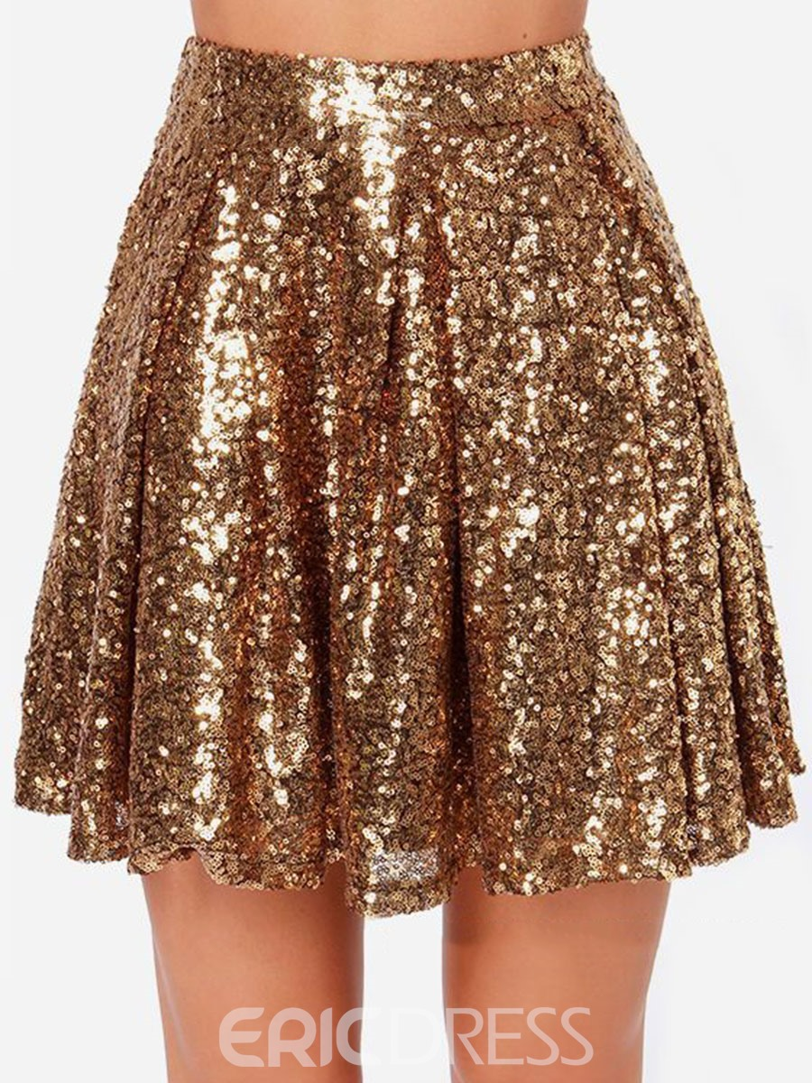 Ericdress Sequins High-Waist Pleated Mini Skirt