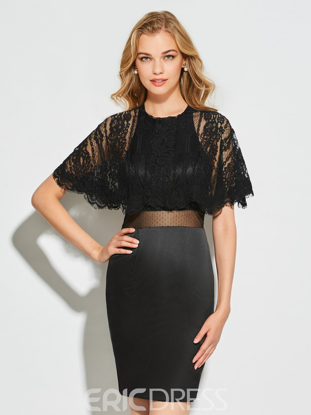 Ericdress Sheath Scoop Neck Half Sleeve Lace Satin Backless Cocktail Dress