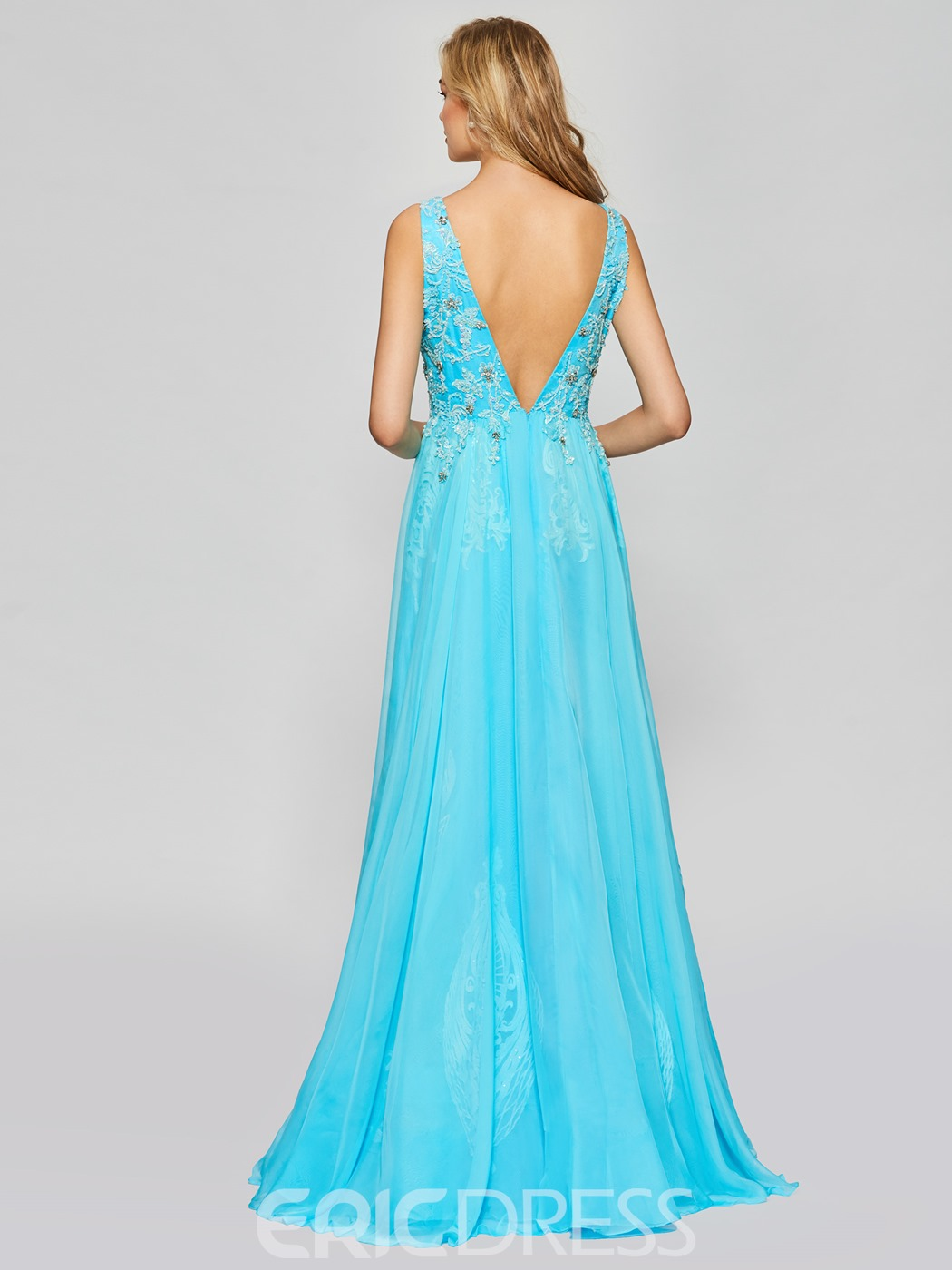 Ericdress A Line V Neck Beaded Long Prom Dress