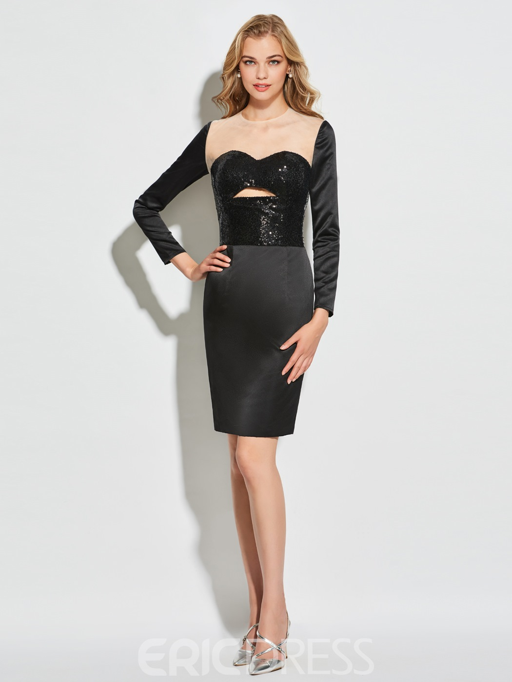Ericdress Sheath Scoop Neck Long Sleeve Short Cocktail Dress