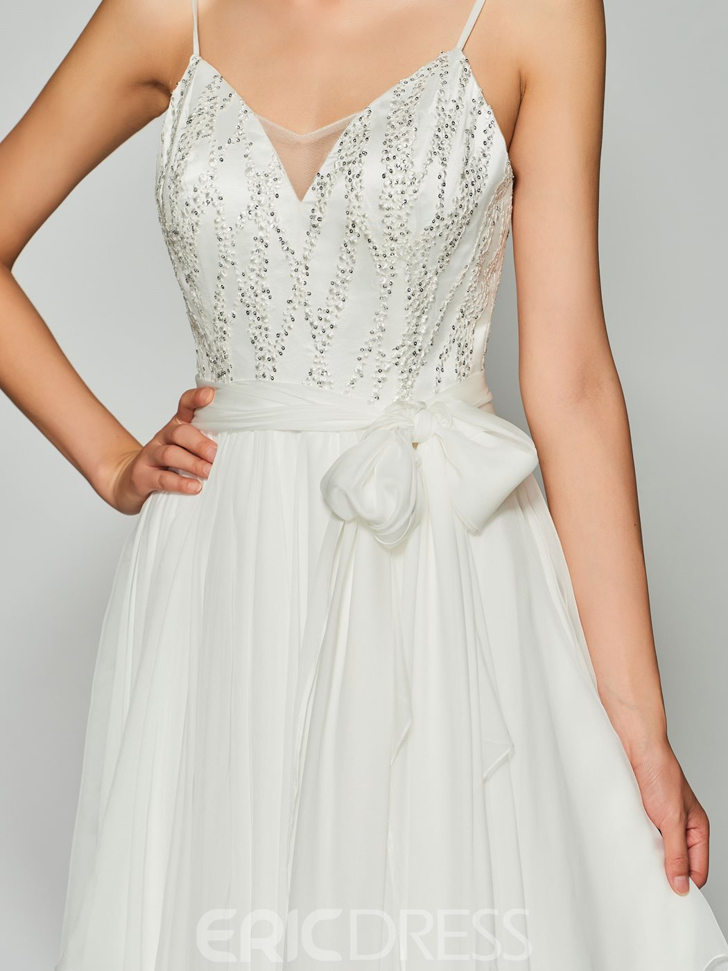 Ericdress A Line Spaghetti Straps Beaded Backless Prom Dress