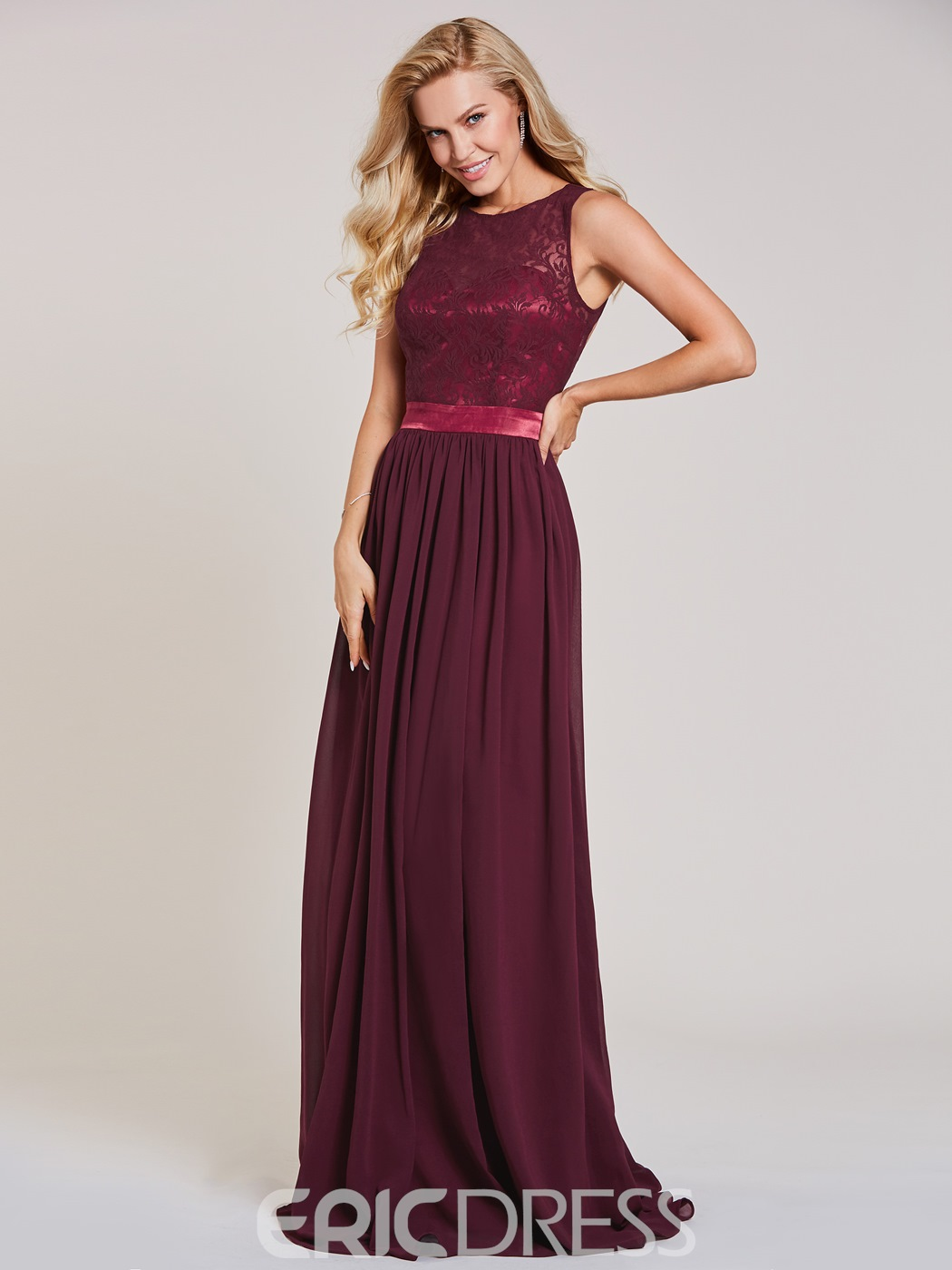 Ericdress Scoop Neck Backless A Line Lace Evening Dress