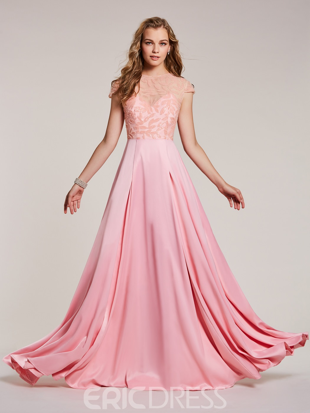 Ericdress A Line Scoop Neck Cap Sleeves Beaded Long Prom Dress