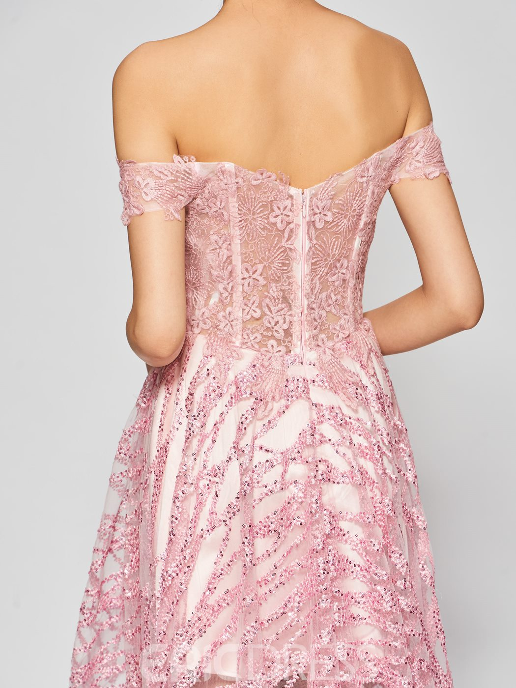 Ericdress A Line Off The Shoulder Lace Asymmetry Prom Dress