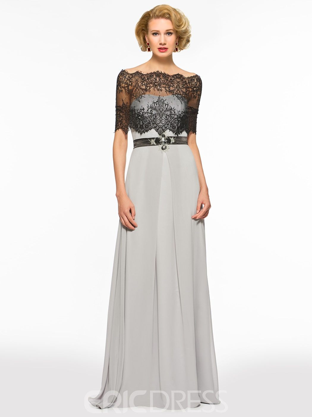 5850a6fd092 Ericdress Off The Shoulder Half Sleeves A Line Lace Mother Of The ...