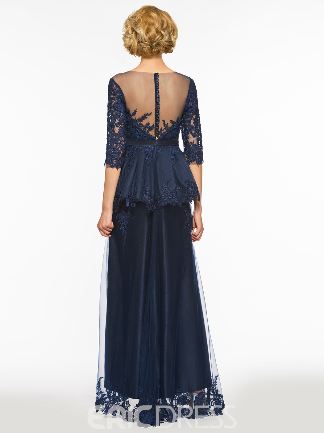 Ericdress A Line Half Sleeves Split Front Tulle Long Mother Of The Bride Dress