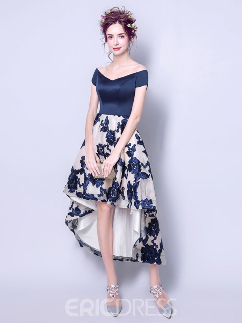 Ericdress A Line Short Sleeve Pattern High Low Asymmetry Homecoming Dress