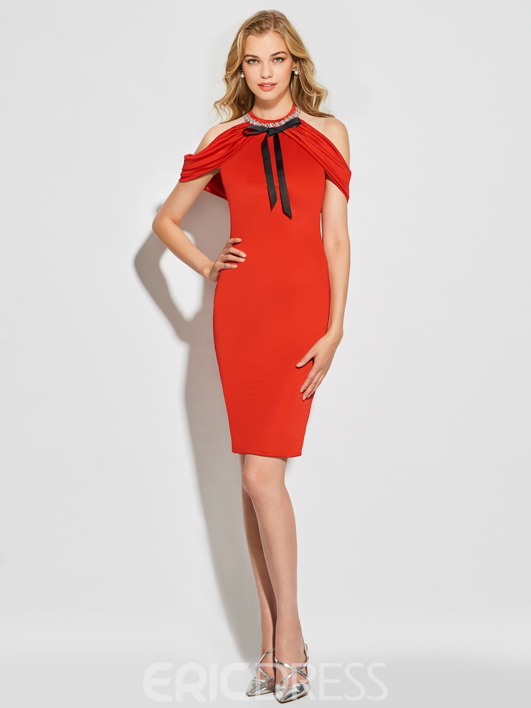 Ericdress Sheath High Neck Off The Shoulder Knee Length Cocktail Dress