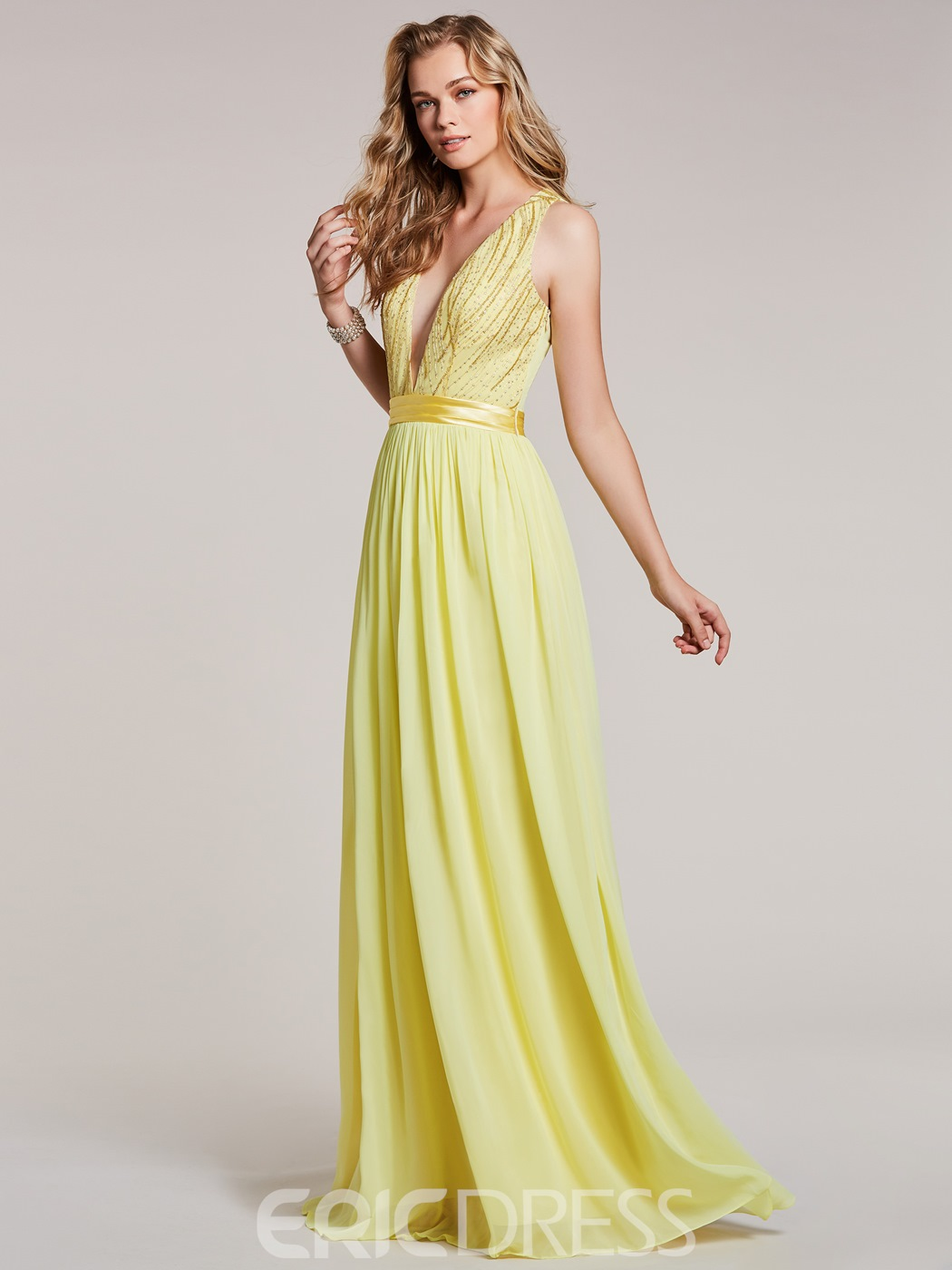 Ericdress V Neck Beaded A Line Long Prom Dress