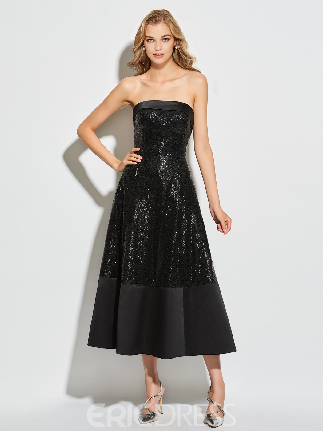 Ericdress A Line Strapless Sequin Tea Length Cocktail Dress 12976431 ...