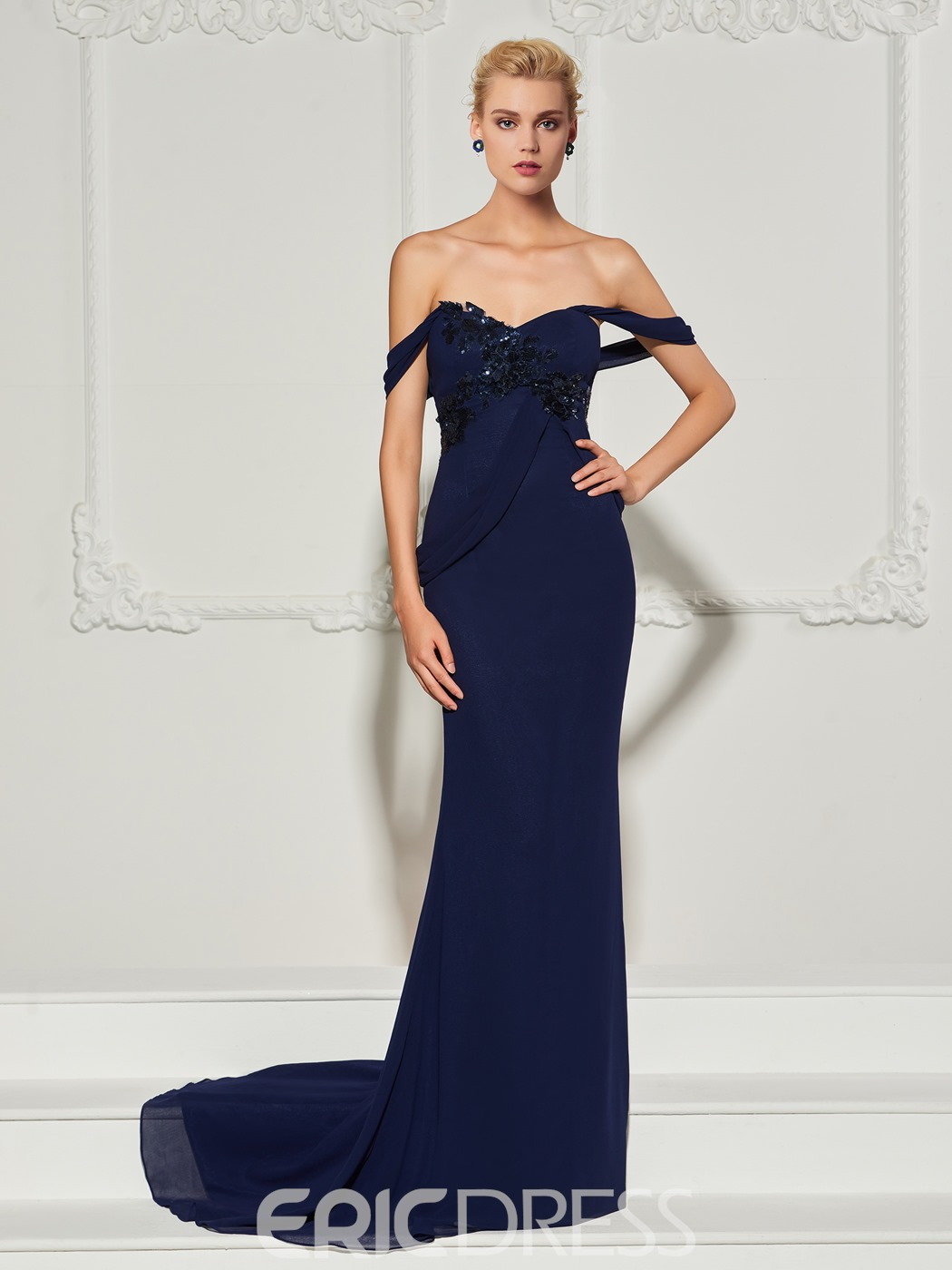 Ericdress Sheath Off The Shoulder Sequin Evening Dress With Sweep Train