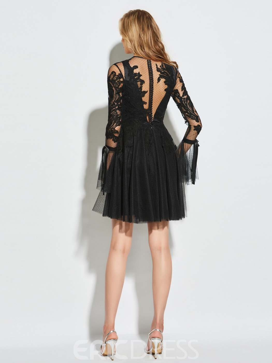Ericdress A Line Long Sleeve Applique Lace Short Cocktail Dress