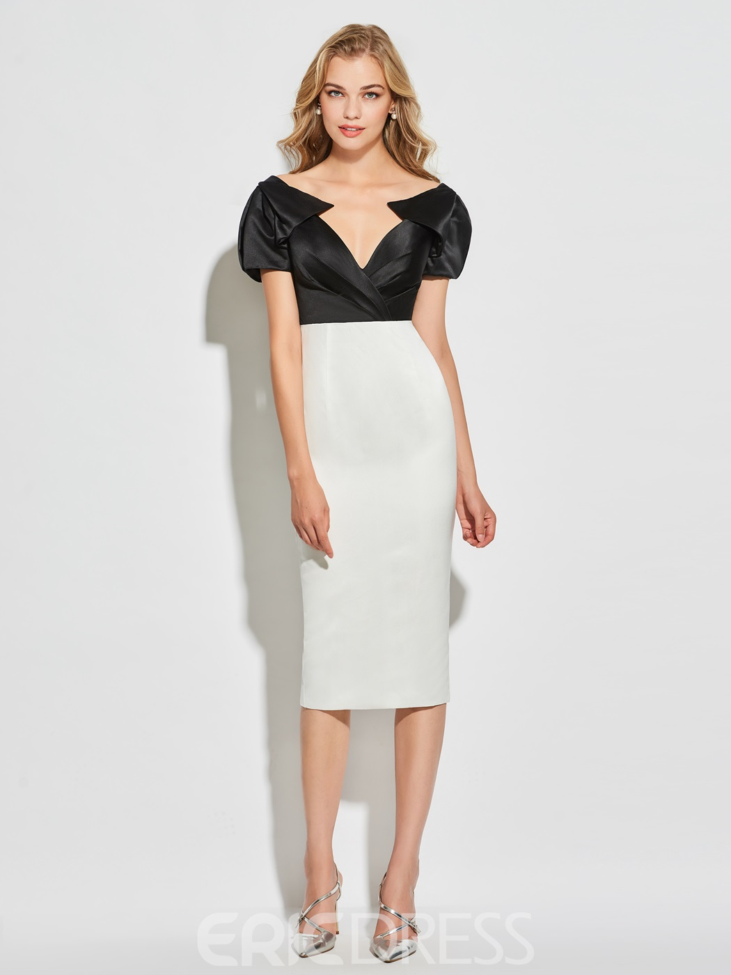 Ericdress Sheath Short Sleeve Knee Length Cocktail Dress