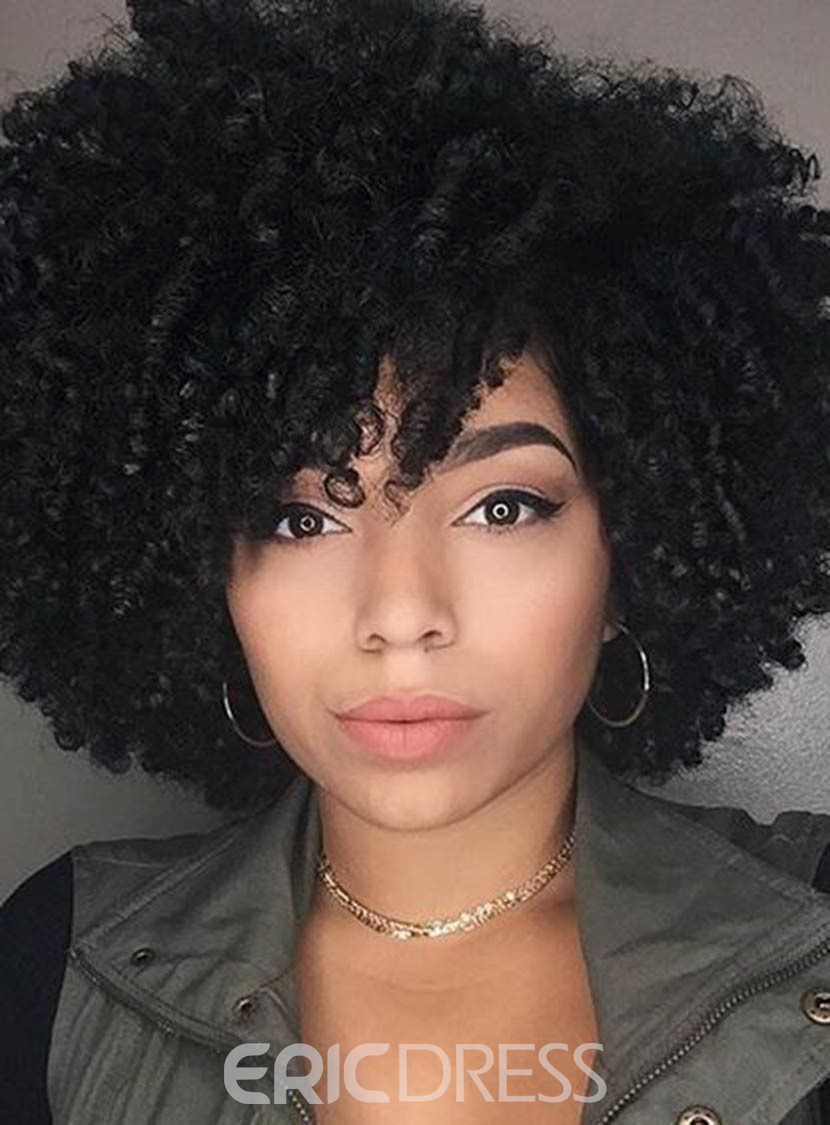 Ericdress Women's Medium Hairstyles Kinky Curly Synthetic Hair Capless Wig 14Inches