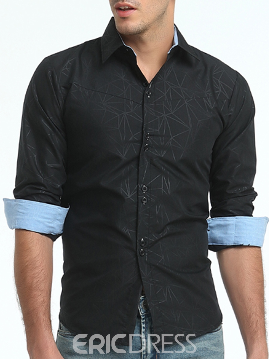 Ericdress Lapel Single-Breasted Floral Print Men's Shirt