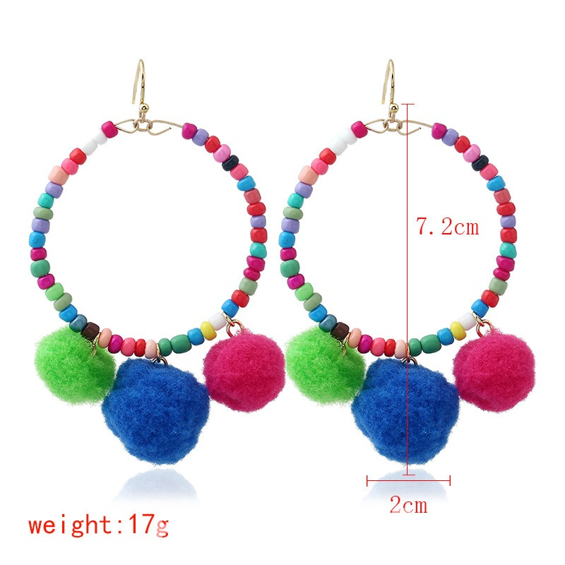 Ericdress Stylish Beads Fuzzy Ball Colorful Drop Earring