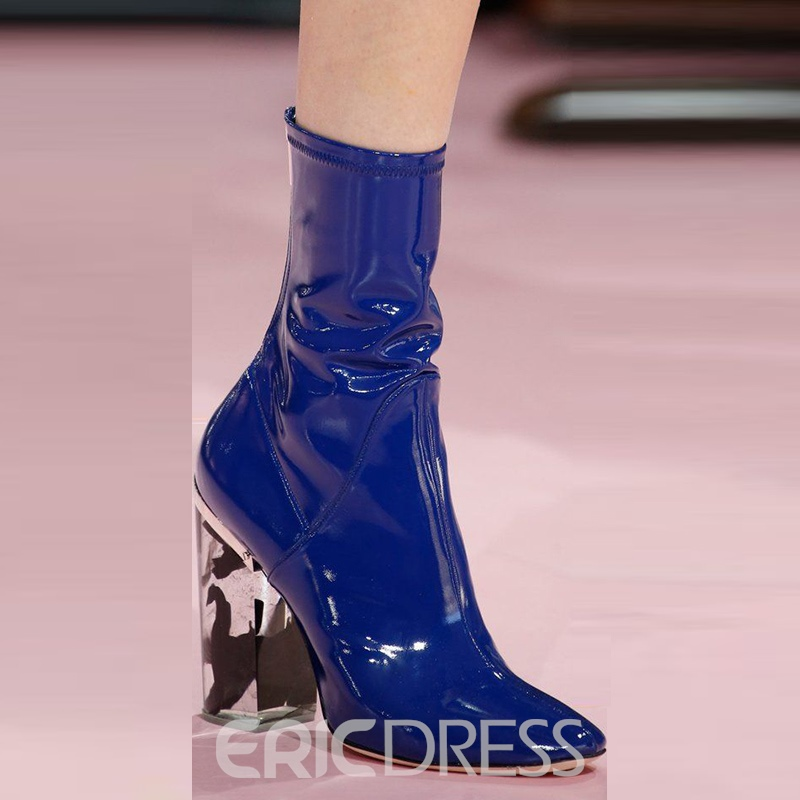 Ericdress Patent Leather Chunky Heel Women's Boots