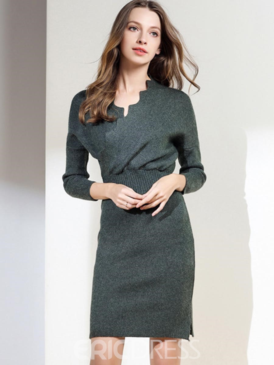 Ericdress V-Neck 3/4 SleevesSolid Color Bodycon Dress