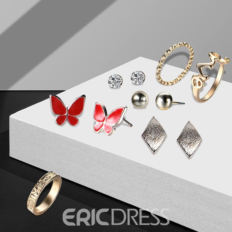 Ericdress Hot Butterfly Stud 7-Piece Women's Jewelry Set