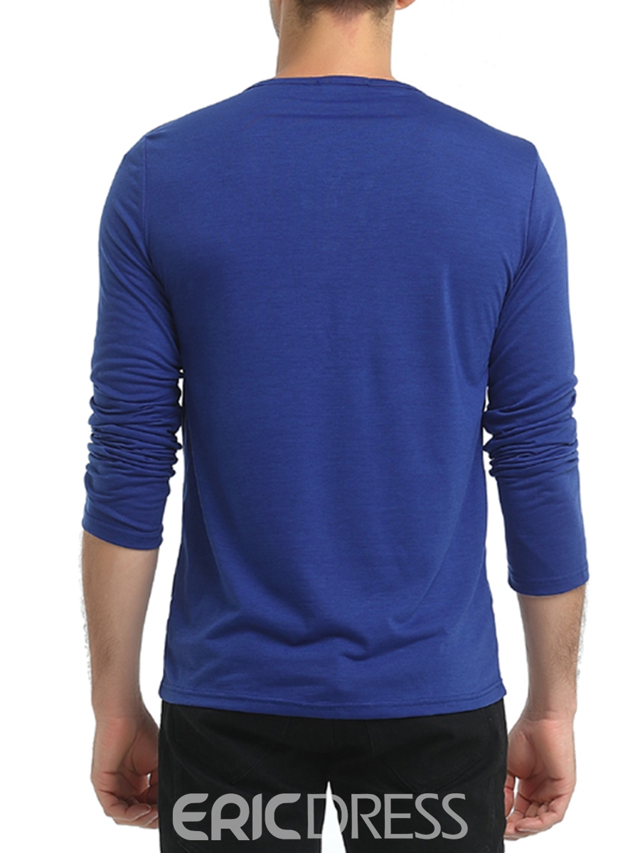Ericdress Plain Button Stand Collar Casual Men's T-Shirt