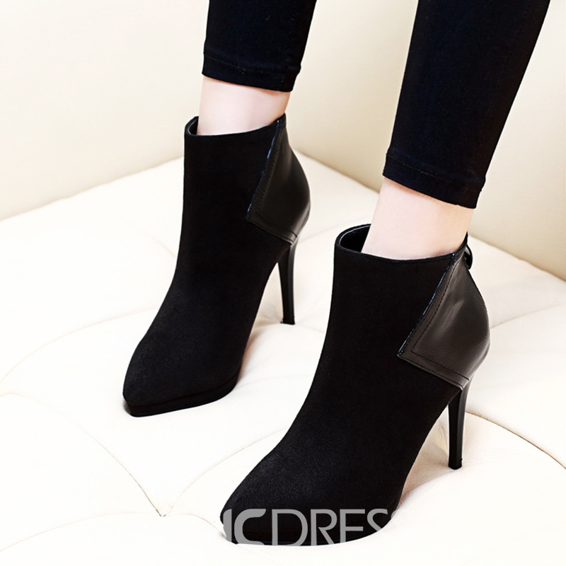 Ericdress Pointed Toe Patchwork Plain High Heel Ankle Boots